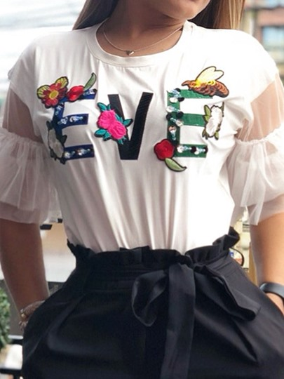 round neck mid-length floral half sleeve casual womens t-shirt