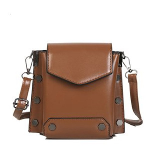 Retro Plain PU Rivet Rectangle Shoulder Bags