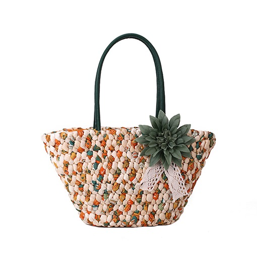 Summer Knitted Floral Straw Bags