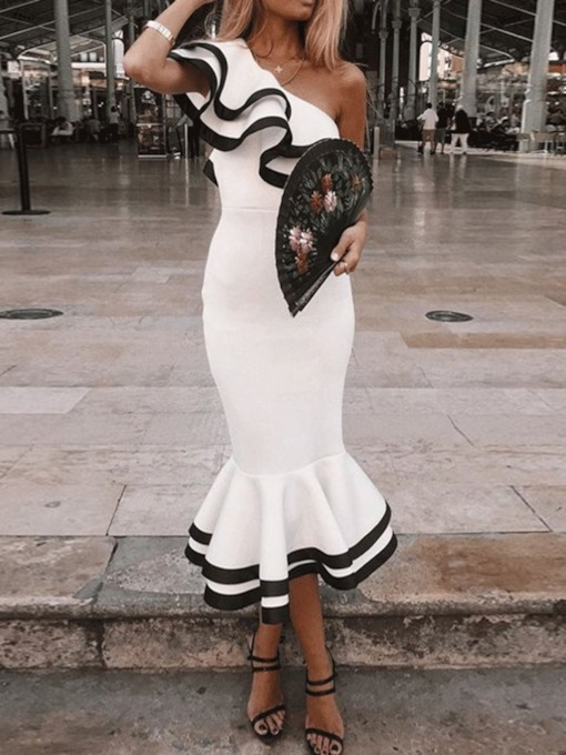 Patchwork Oblique Collar Short Sleeve Ruffle Sleeve Women's Maxi Dress