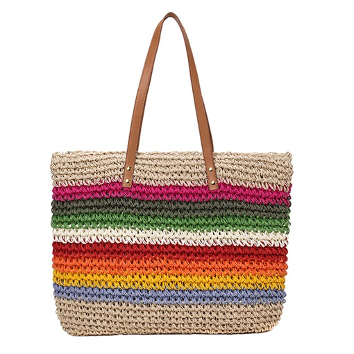 Rainbow Knitted PU Straw Bags