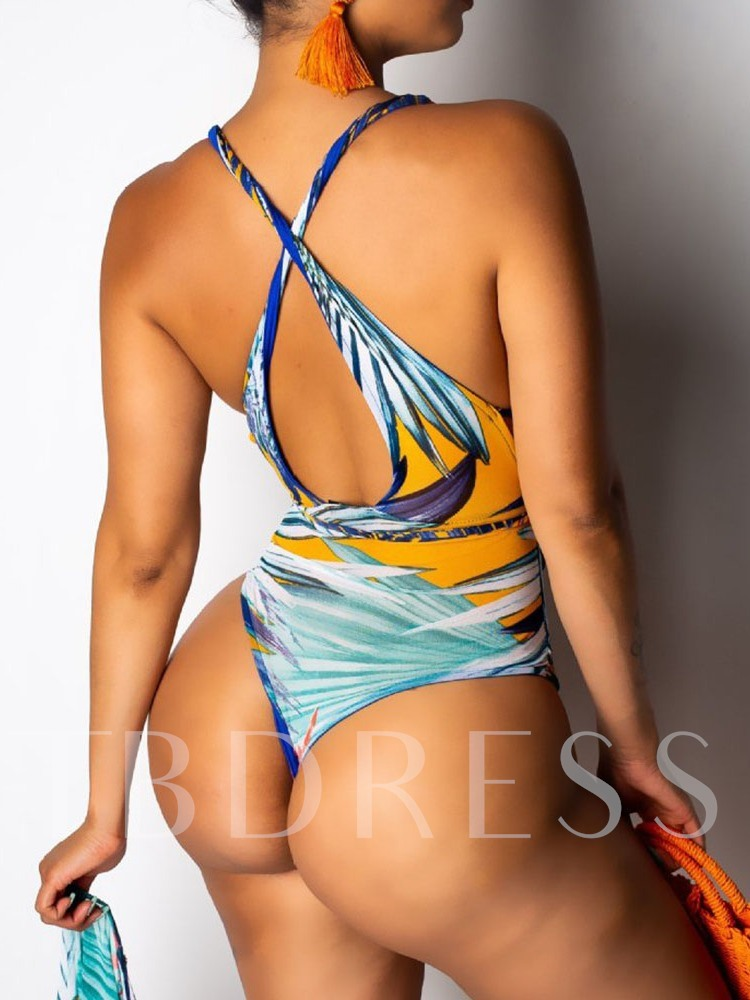 One Piece Lace-Up Prints Women's Swimwear