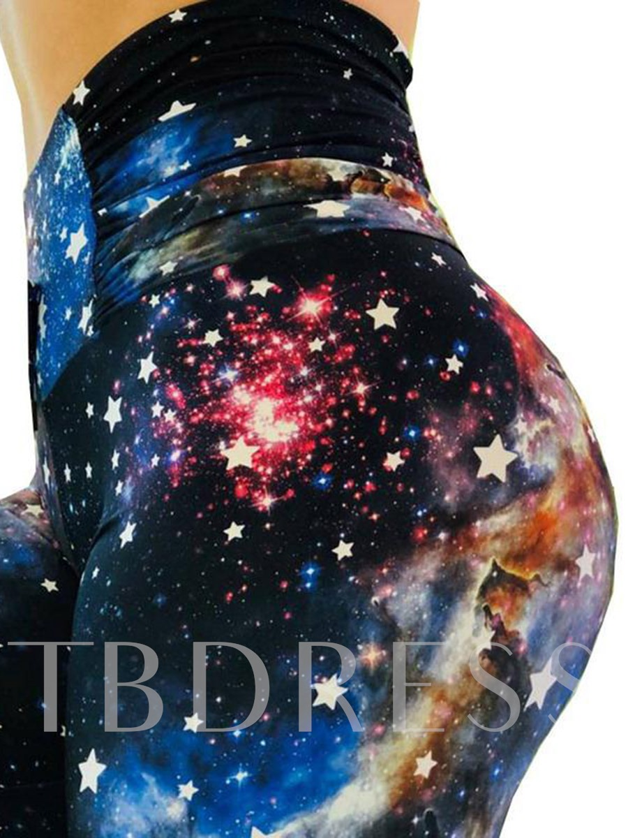 Women's Cosmic Starry Print Yoga Running Leggings