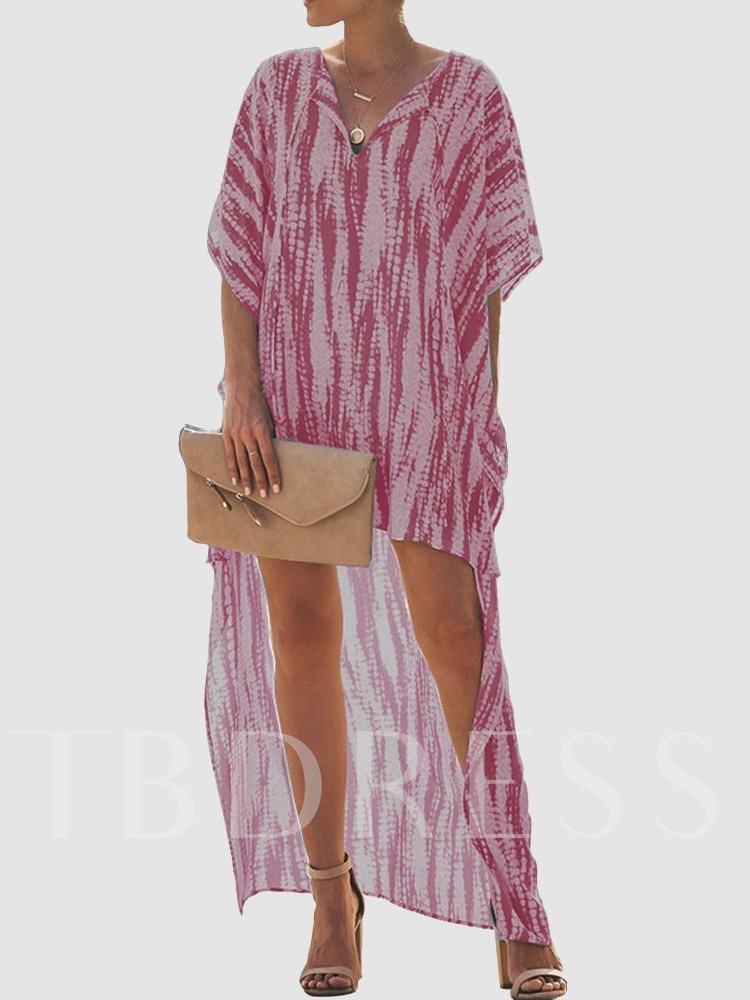 Three-Quarter Sleeve Tie-Dye V-Neck Batwing Sleeve Women's Day Dress