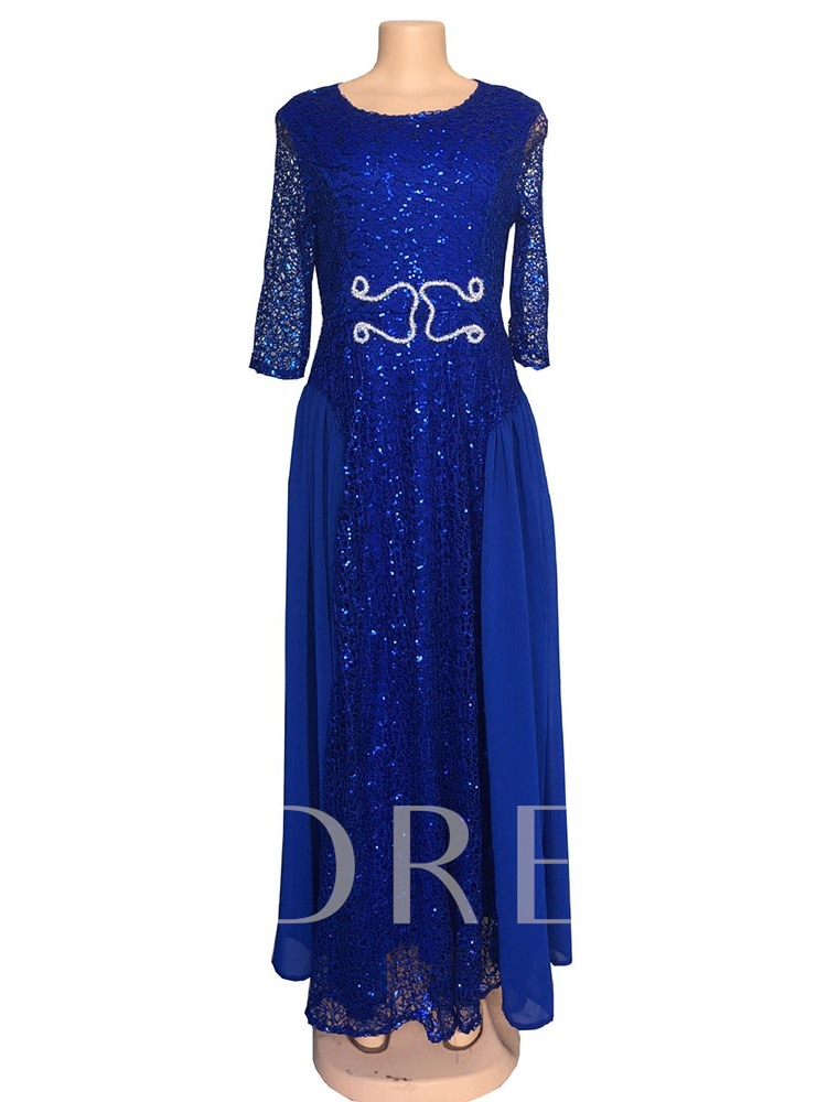 Three-Quarter Sleeve Sequins Round Neck Women's Maxi Dress
