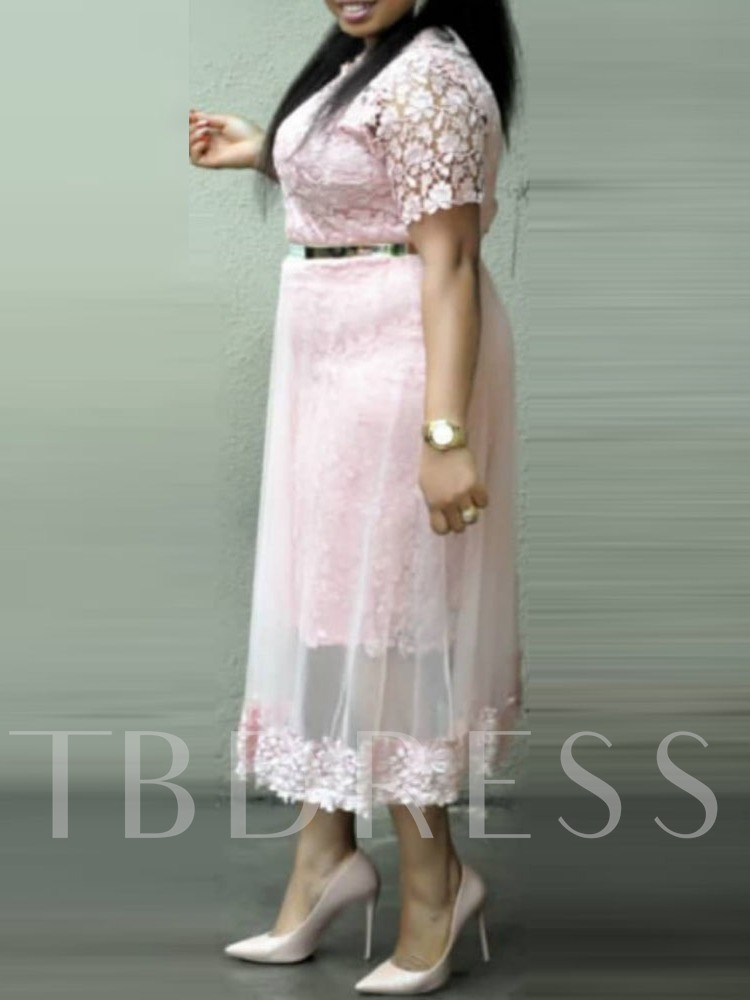 Mesh Round Neck Short Sleeve Regular Women's Lace Dress