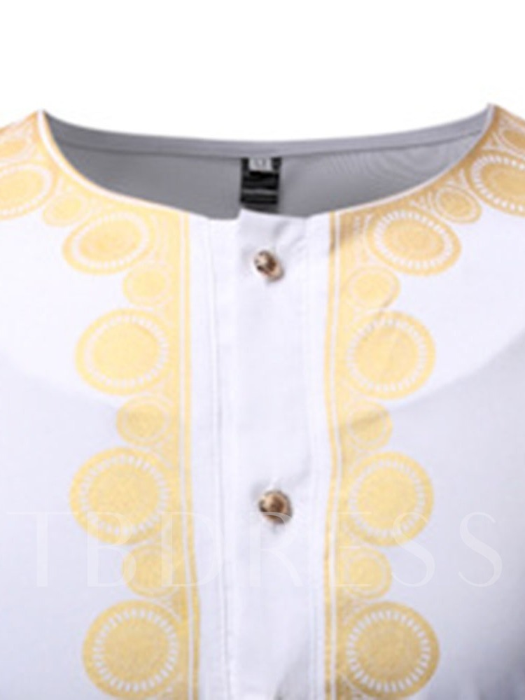 African Fashion Color Block Round Neck Casual Button Slim Men's Shirt