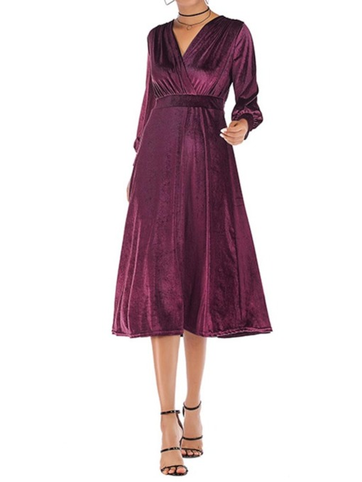 Long Sleeve V-Neck Mid-Calf Pleated A-Line Women's Day Dress