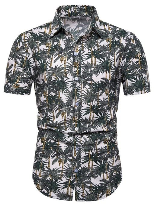 Lapel Print Casual Plant Single-Breasted Men's Shirt