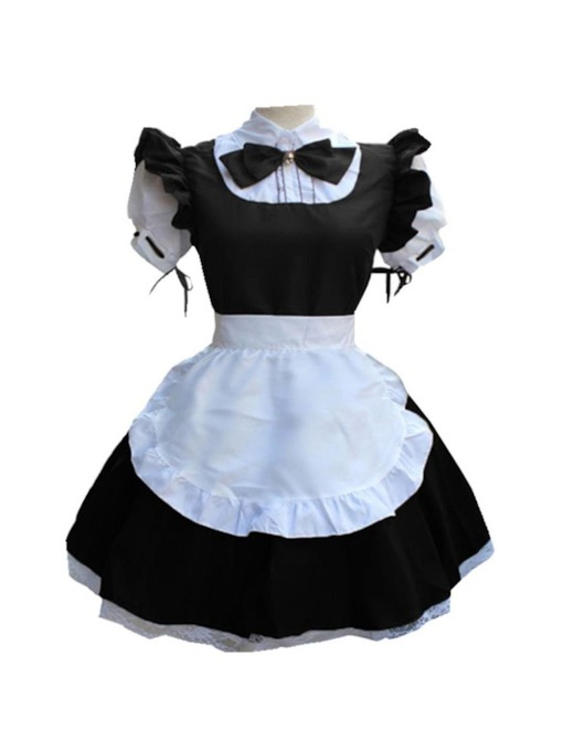 Lace-Up Color Block Vintage Short Sleeve Cartoon Character Women's Costumes