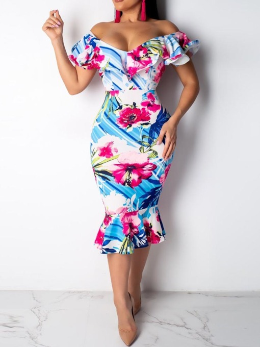 Off Shoulder Short Sleeve Floral Women's Bodycon Dress