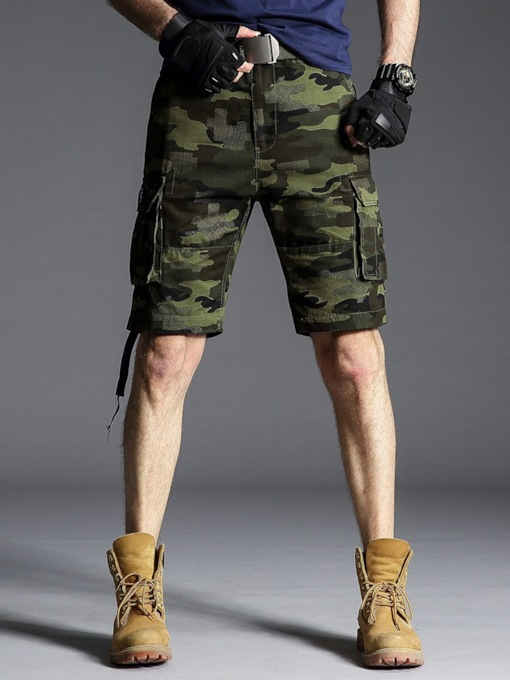 Straight Pocket Camouflage Thin Mid Waist Men's Casual Pants