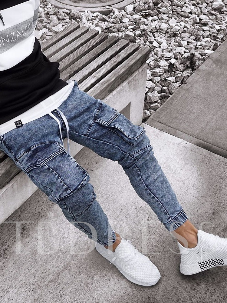 Worn Embroidery Lace-up Pencil Pants Mid Waist Washed Men's Jeans