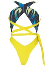 Color Block One Piece Lace up Women's Swimwear