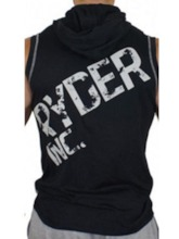 Men's Print Letter Hooded Sleeveless Workout Hoodie