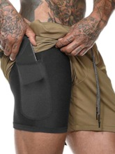 Double Layered Sports Shorts with Phone Pocket for Men