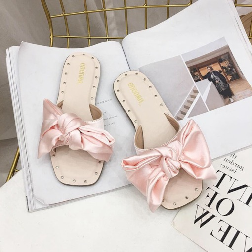 Slip-On Chunky Heel Flip Flop Bow Sweet Slippers