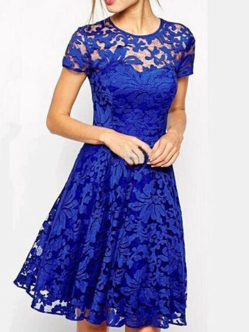 See-Through Round Neck Short Sleeve Plain Women's Day Dress