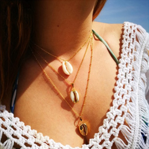 Vintage Gold Color Conch Necklace For Women