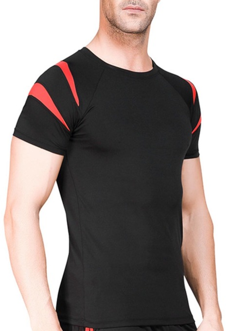 Men's Patchwork Color Block Short Sleeve Sports Tops