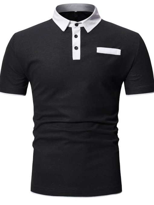 Casual Color Block Polo Neck Pocket Men's Polo Shirt