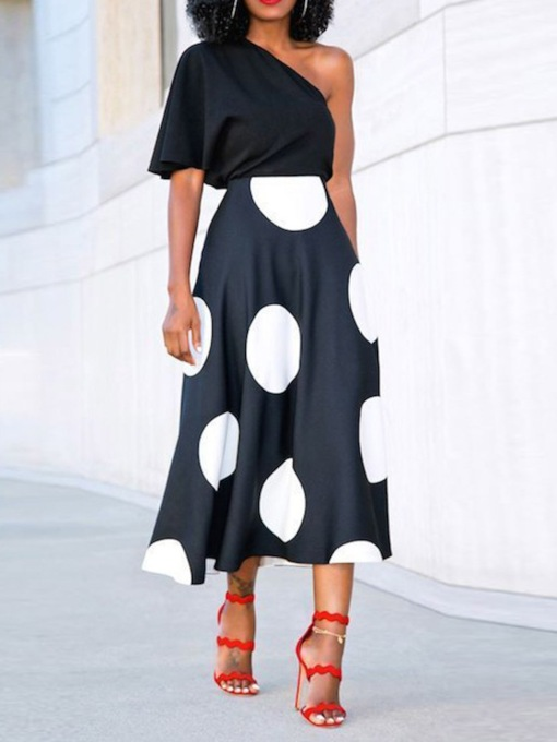 Western Skirt Print Polka Dots Pullover Women's Two Piece Sets