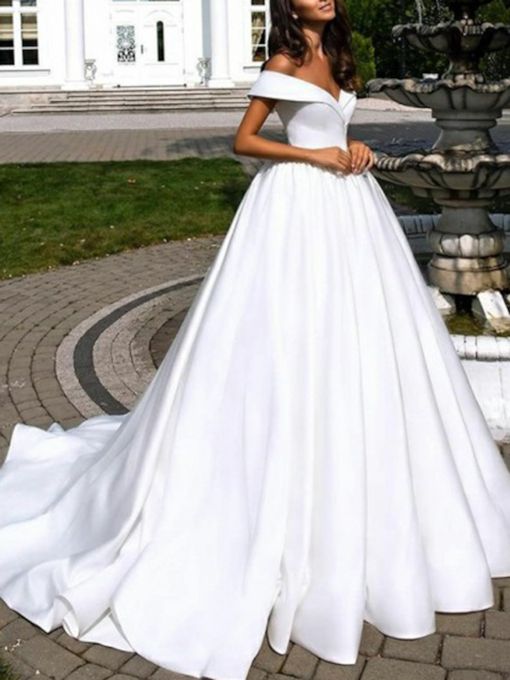 A-Line Off-The-Shoulder Church Wedding Dress 2019