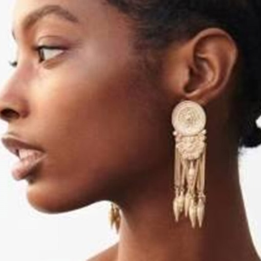Vintage Golden Color Tassel Statement Earrings