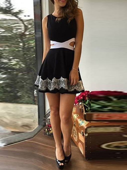 Lace Round Neck Sleeveless Color Block Women's Day Dress