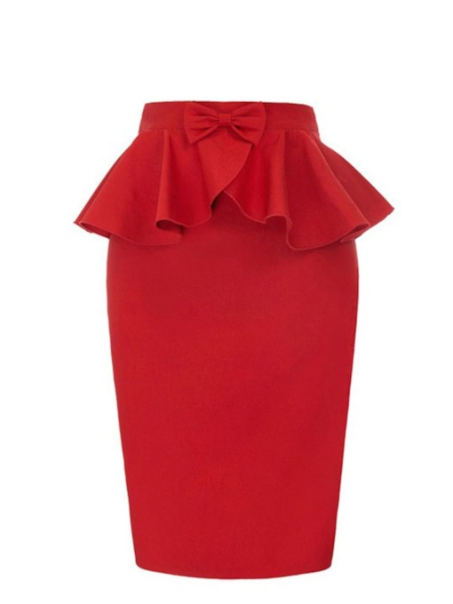 Bodycon Bowknot Mid-Calf Plain Korean Women's Skirt