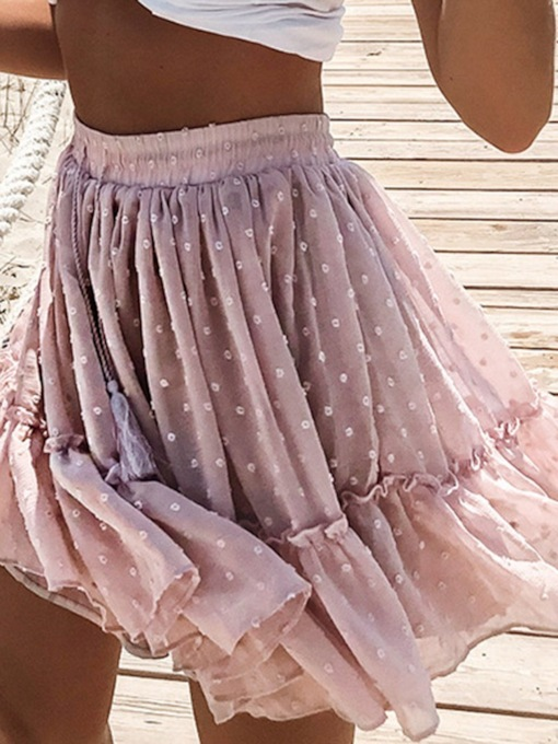 Polka Dots Pleated Falbala Mini Skirt Western Women's Skirt