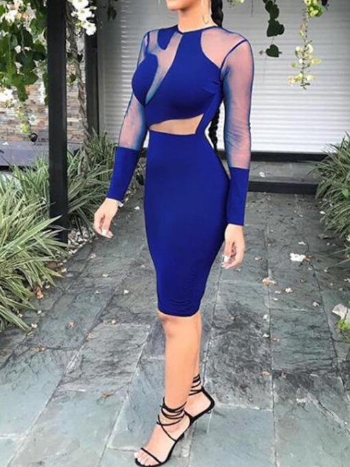See-Through Patchwork Long Sleeve Women's Bodycon Dress