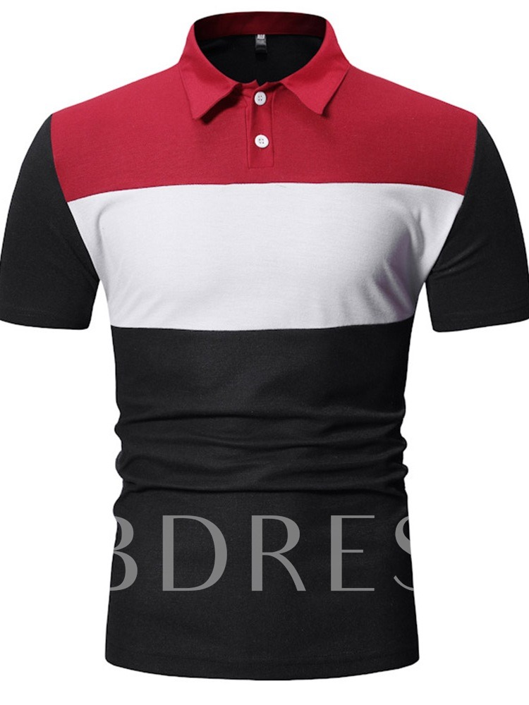 Polo Neck Color Block Button Casual Men's Polo Shirt