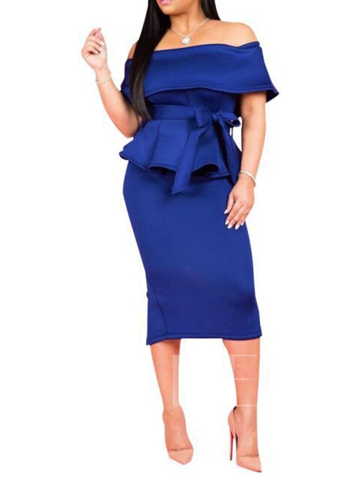 Skirt Bowknot Plain Office Lady Pullover Women's Two Piece Sets