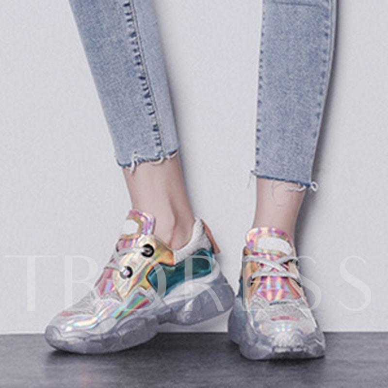 Lace-Up Round Toe Metallic Letter Women's Sneakers