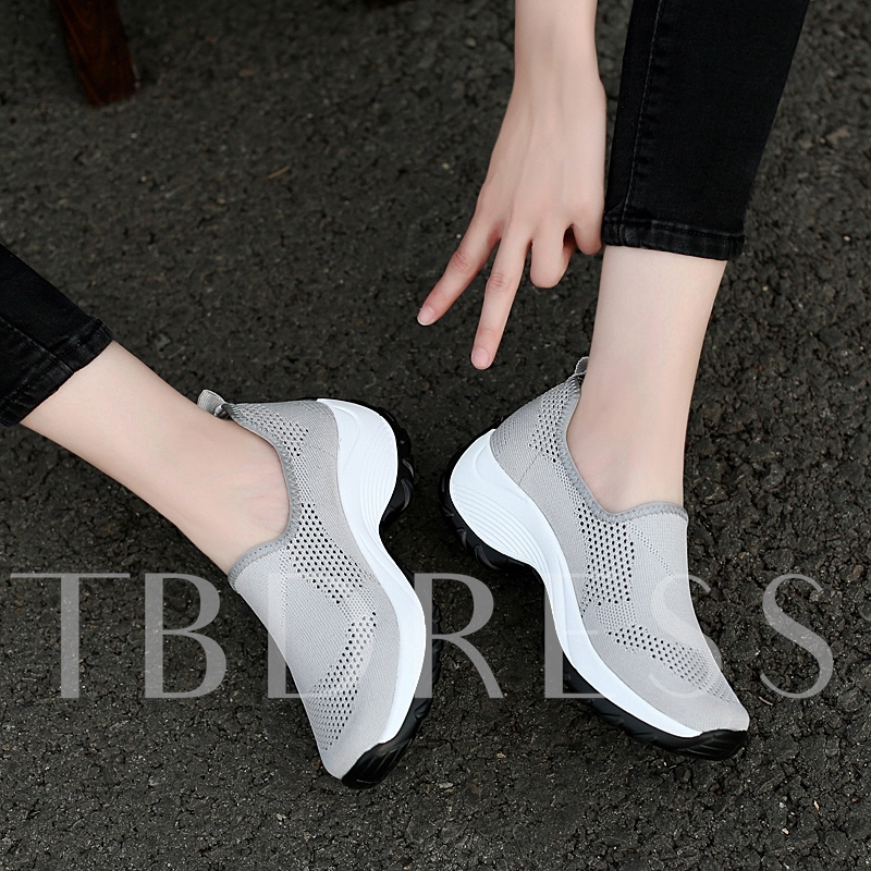Mesh Round Toe Lace-Up Slip-On Women's Sneakers