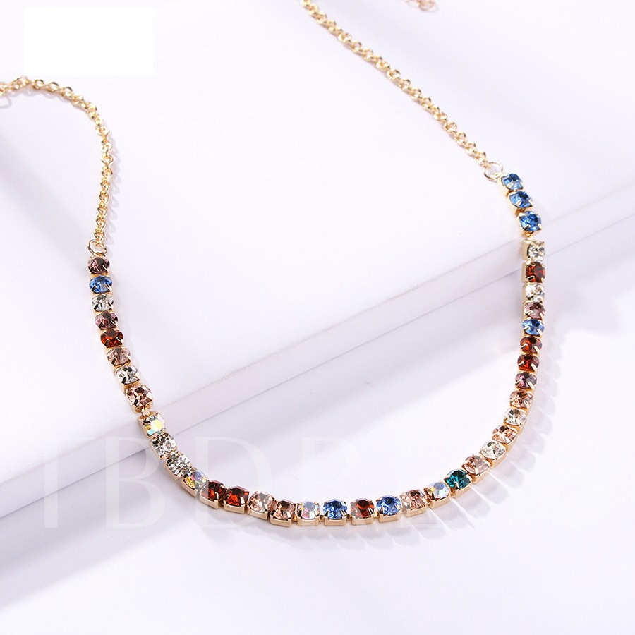 Color Block Torques Diamante Necklace for Women