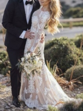 Scoop Neck Mermaid Appliques Long Sleeve Boho Wedding Dress