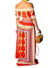 Skirt Western Print Geometric A-Line Women's Two Piece Sets