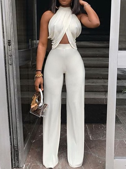 Plain Patchwork Full Length Date Night Slim Women's Jumpsuit