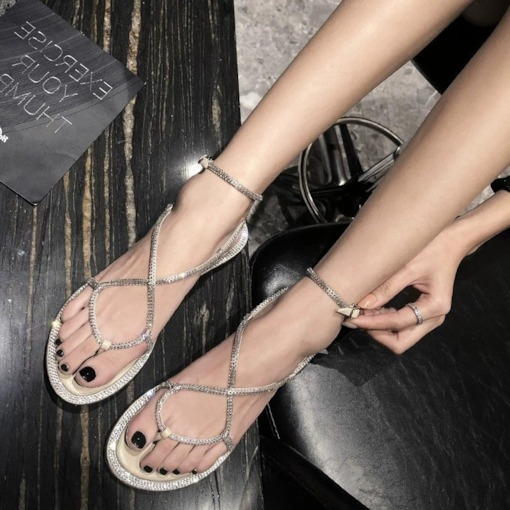Open Toe Lace-Up Strappy Plain Sandals