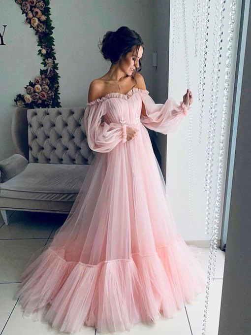 Floor-Length Sweetheart Long Sleeves A-Line Prom Dress 2019