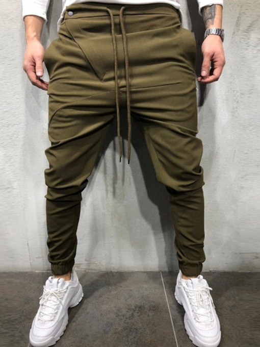 Plain Lace-Up Straight Lace-Up Men's Casual Pants