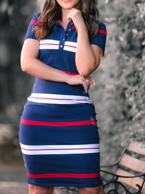 Button Short Sleeve Above Knee Color Block Women's Day Dress
