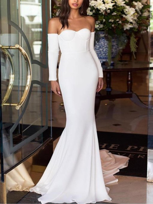 Long Sleeves Off-The-Shoulder Evening Dress 2019