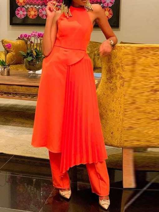 Vest Pleated Date Night Plain Straight Women's Two Piece Sets