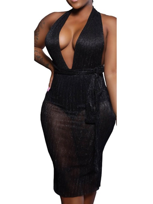 Mid-Calf Sleeveless Lurex Bodycon Women's Sexy Dress