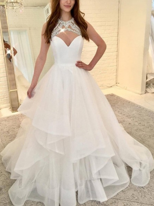 Beading Jewel Neck Tiered Ball Gown Wedding Dress 2019