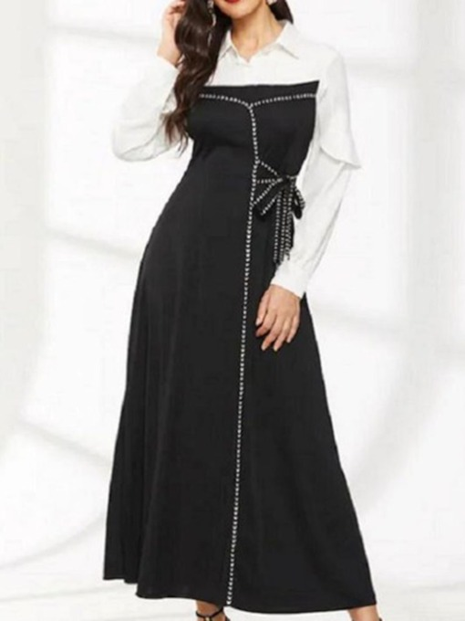 Lapel Bowknot Long Sleeve Color Block Women's Maxi Dress