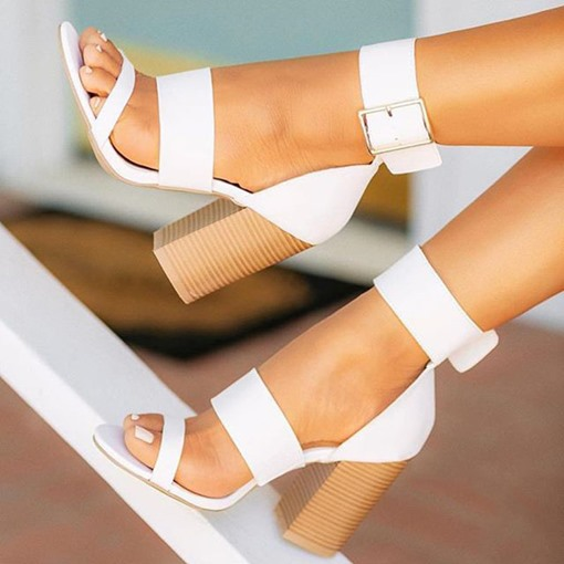 Heel Covering Chunky Heel Buckle Open Toe Plain Sandals